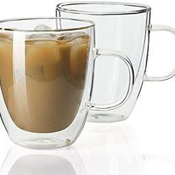 Sweese 413.101 Glass Coffee Mugs - 12.5 oz Double Walled Insulated Mug Set with Handle, Perfect f... | Amazon (US)
