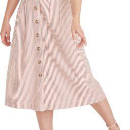 Patio Stripe Button Front Midi Skirt (Regular & Plus Size) | Nordstrom Rack