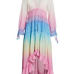 Rococo Sand Women's Rainbow Tiered High-Low Dress - White Pink - Size XS   Saks Fifth Avenue