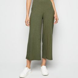 Last chance                       Khaki Ribbed Wide Crop Trousers  Add to Saved Items... | New Look (UK)