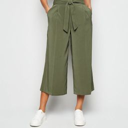 Khaki Tie High Waist Crop Trousers  Add to Saved Items Remove from Saved Items ... | New Look (UK)