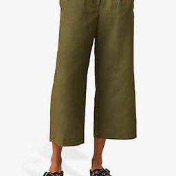 French Connection Wide Leg Culotte Trousers, Khaki | John Lewis UK