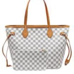 'Grace' Canvas Checked Tote Bag with Pouch (2 Colors)   Goodnight Macaroon