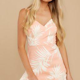 Need A Vacay Light Peach Palm Print Dress   Red Dress
