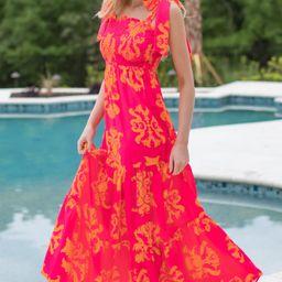 Chapter One Fuchsia Pink Print Maxi Dress   Red Dress