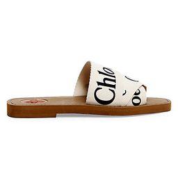 Chloé Women's Woody Flat Sandals - White - Size 40 (10)   Saks Fifth Avenue