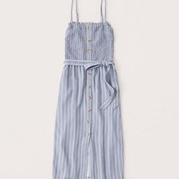Button-Up Smocked Midi Dress | Abercrombie & Fitch (US)
