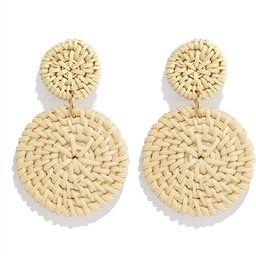 Weave Straw Double Disc Drop Earrings Boho Rattan Dangle Statement Earrings | Amazon (US)