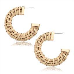 PHALIN Rattan Hoop Earrings Boho Woven Wicker Earrings Straw Braid Circle Earrings Lightweight St... | Amazon (US)
