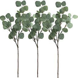 "Supla 3 Pcs Artificial Silver Dollar Eucalyptus Leaf Spray in Green 25.5"" Tall Artificial Greener... | Amazon (US)"