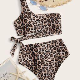 Leopard Tie Side High Waist Bikini Swimsuit | SHEIN