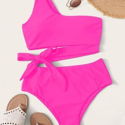 One Shoulder Tie Side Bikini Swimsuit | SHEIN