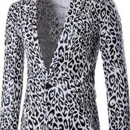 Cool Leopard Print Long Sleeve Notched Lapel Single Button Slim Blazer Wedding Suit for Men | Beautifulhalo.com