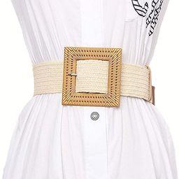 Women Skinny Dress Belt, Fashion Straw Woven Elastic Stretch Waist Band Wood Buckle Belt   Amazon (US)