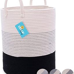 OrganiHaus XXL Cotton Rope Basket in Black and Off White with Stitches   Tall 15x18 Storage Baske...   Amazon (US)