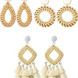 3 Pairs Rattan Earrings Handmade Woven Tassel Earrings Geometric Rattan Drop Dangle Earrings for ... | Amazon (US)