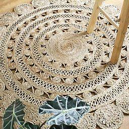 Round Jute Area Rug Woven Golden Leaf Handmade (4 Feet, Natural) | Amazon (US)