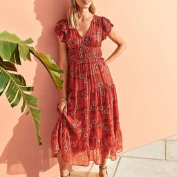 Petite Shimmer Floral Flutter Sleeve Maxi Dress | Ann Taylor (US)