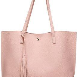 Women's Soft Leather Tote Shoulder Bag from Dreubea, Big Capacity Tassel Handbag | Amazon (US)