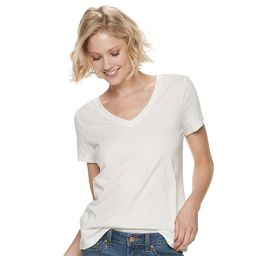 Women's SONOMA Goods for Life Casual V-Neck Tee, Size: XXL, White | Kohl's