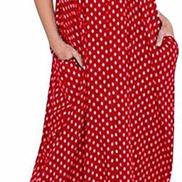 LILBETTER Women V-Neck Polka Dot Print Spaghetti Strap Boho Long Maxi Dresses   Amazon (US)