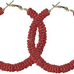 JHWZAIY Hoop Earrings Gold Plated Beaded Earrings Bohemian Dangle Earrings for Women Girls | Amazon (US)