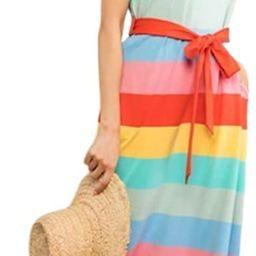 Women's Stripe Cap Sleeve Waist Tie Belt Cotton Maxi Dress | Amazon (US)