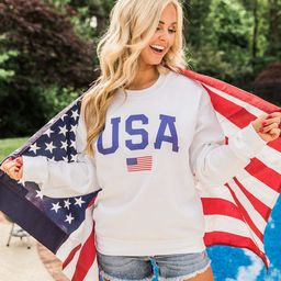 Athletic USA Flag Graphic Sweatshirt | The Pink Lily Boutique
