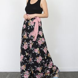egs by eloges Women's Maxi Dresses BLACK - Black & Pink Floral Sash-Waist Maxi Dress - Women & Plus   Zulily