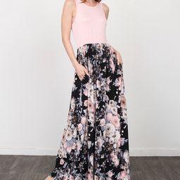 egs by eloges Women's Maxi Dresses PINK - Pink & Black Floral Sleeveless Maxi Dress - Women & Plus   Zulily