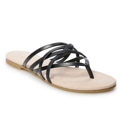 LC Lauren Conrad Women's Strappy Slide Sandals, Size: XL (11), Black | Kohl's