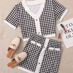 Plus Houndstooth Print Top With Skirt | SHEIN