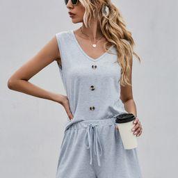 Solid Tank Top & Drawstring Waist Shorts   SHEIN