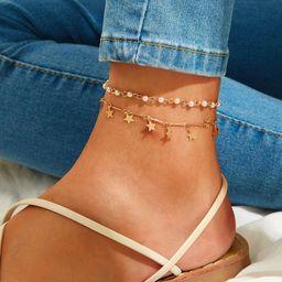 Star Charm & Faux Pearl Decor Anklet 2pcs | SHEIN