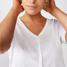 Jessie Button Through Henley Short Sleeve Top | Cotton On (AU)