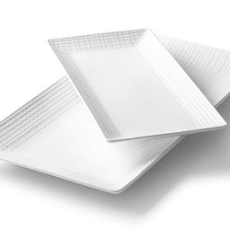 Roscher White Porcelain Serving Platter Set w/Mesh Pattern (2-Pack) Small and Large Kitchen and D...   Walmart (US)