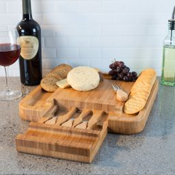 Bamboo Cheese Serving Tray with 4 Piece Stainless Steel Cutlery Set and Storage Drawer- Durable a...   Walmart (US)