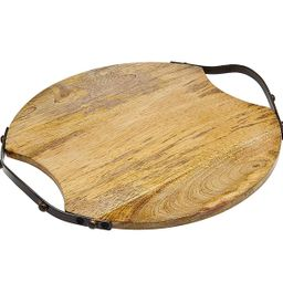 Godinger Wood Serving Tray, Charcuterie Platter Cheese Board with Metal Handles - Round   Walmart (US)