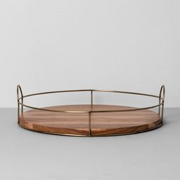 """16"""" Round Wood and Wire Tray - Hearth & Hand™ with Magnolia   Target"""