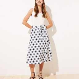 Floral Linen Blend Tie Waist Midi Skirt | LOFT