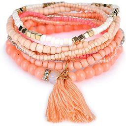 Bohemian Beads Pearl Tassel Multi Strand Textured Stackable Bangle Bracelet Set(bl003054)   Amazon (US)
