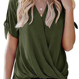 Imily Bela Womens Wrap Front Chiffon Tops Short Sleeve V-Neck Sturdy Loose Summer Shirt   Amazon (US)