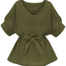 Milumia Women's V Neckline Self Tie Short Sleeve Blouse Tunic Tops   Amazon (US)