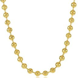 The Bling Factory 3.3mm 0.25 mils (6 microns) 14k Yellow Gold Plated Round Bead Chain Necklace, 7... | Amazon (US)