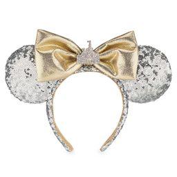 Minnie Mouse Sleeping Beauty Castle Ear Headband Silver Sequins Disneyland | shopDisney