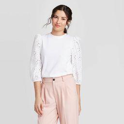 Women's Long Sleeve Eyelet T-Shirt - A New Day™   Target