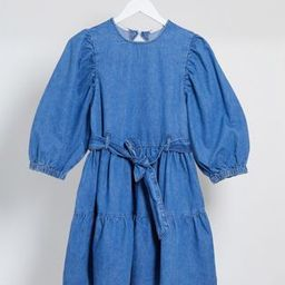 ASOS DESIGN denim mini smock dress with self belt in mid wash blue | ASOS (Global)
