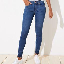 Curvy Let Down Hem Slim Pocket Skinny Jeans in Rich Dark Indigo | LOFT