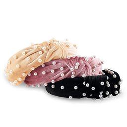 AIEBAO Pearl Headband (3PACK, Black+Beige+Pink)   Amazon (US)