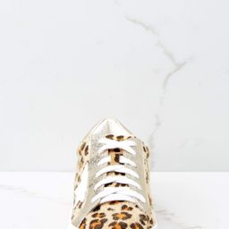 Getting Better Gold Leopard Print Sneakers | Red Dress